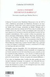 Dans l'intimite des renaud-barrault - 4ème de couverture - Format classique