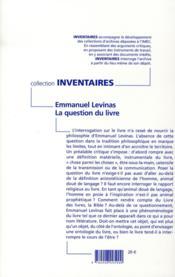 Emmanuel Levinas, la question le livre - 4ème de couverture - Format classique