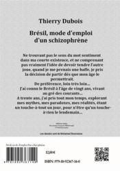 Brésil, mode d'emploi d'un schizophrène - 4ème de couverture - Format classique