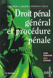 Droit Penal General Et Procedure Penale (Treizieme Edition) - Intérieur - Format classique