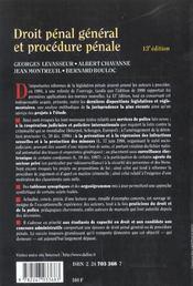 Droit Penal General Et Procedure Penale (Treizieme Edition) - 4ème de couverture - Format classique