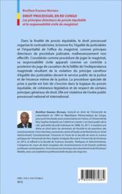 Droit processuel en RD Congo ; les principes directeurs du procès équitable et la responsabilite civile du magistrat - 4ème de couverture - Format classique