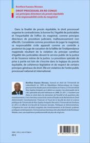 Droit processuel en RD Congo ; les principes directeurs du procès équitable et la responsabilite civile du magistrat - Couverture - Format classique