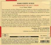 Le ravissement de Lol V. Stein - 4ème de couverture - Format classique