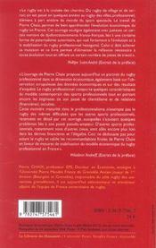 Le Rugby Professionnel En France ; Enjeux Economiques Et Sociaux - 4ème de couverture - Format classique