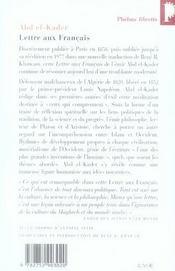 Lettre aux français - 4ème de couverture - Format classique