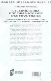 J.S. Sinisterra, une dramaturgie des frontières - 4ème de couverture - Format classique