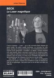 Beck ; le loser magnifique - 4ème de couverture - Format classique