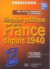 Histoire politique de la france depuis 1940 - Intérieur - Format classique