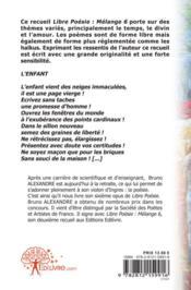 Libre Poesie: Melange 6 - 4ème de couverture - Format classique