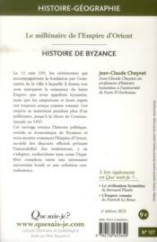Histoire de Byzance (4e édition) - 4ème de couverture - Format classique