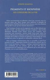 Pigments et biosphère ; les couleurs de la vie - 4ème de couverture - Format classique