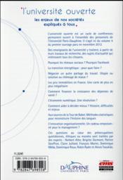 L'université ouverte t.4 ; les enjeux de nos sociétés expliqués à tous - 4ème de couverture - Format classique