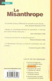 Le Misanthrope - 4ème de couverture - Format classique