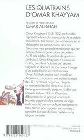 Les quatrains d'omar khayyam - traduits et presentes par omar ali-shah - 4ème de couverture - Format classique