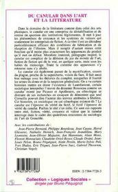 Du Canular Dans L'Art Et La Litterature ; Quatriemes Rencontres Internationales De Sociologie De L'Art De Grenoble - 4ème de couverture - Format classique