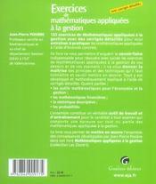 Zoom's. exercices de mathematiques appliquees a la gestion. corriges detailles - 4ème de couverture - Format classique