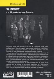 Slipknot ; la monstrueuse parade - 4ème de couverture - Format classique