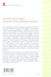 Prosodie de la nature - 4ème de couverture - Format classique