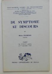 Du Symptome Au Discours. - Couverture - Format classique