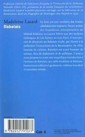 Rabelais - 4ème de couverture - Format classique