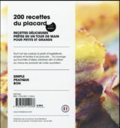 200 recettes du placard - 4ème de couverture - Format classique