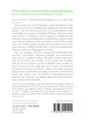Petit manuel de résistance contemporaine - 4ème de couverture - Format classique