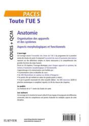 Toute l'UE 5 - anatomie - cours + qcm ; organisation des appareils et des systèmes - aspects morphologiques et fonctionnels - 4ème de couverture - Format classique