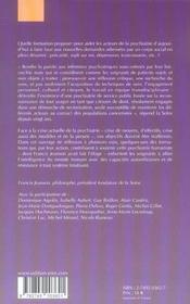 Quelle formation pour quelle psychiatrie ? - 4ème de couverture - Format classique