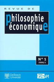 Revue De Philosophie Economique N.1 - Intérieur - Format classique
