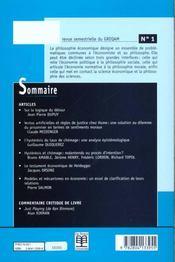 Revue De Philosophie Economique N.1 - 4ème de couverture - Format classique