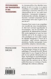 Psychologie(s) des transsexuels et des transgenres - 4ème de couverture - Format classique