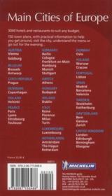 Main cities of Europe ; restaurants & hôtels 2011 - 4ème de couverture - Format classique