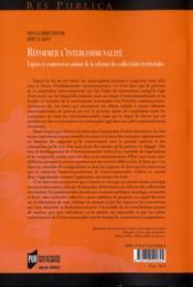Réformer l'intercommunalité - 4ème de couverture - Format classique