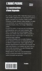 L'Abbe Pierre ; La Construction D'Une Legende - 4ème de couverture - Format classique