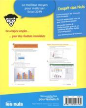 Excel pour les nuls (édition 2019) - 4ème de couverture - Format classique