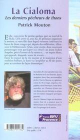 La Cialoma. Les Derniers Pecheurs De Thons - 4ème de couverture - Format classique