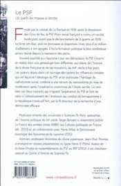 Le PSF ; un parti de masse à droite (1936-1940) - 4ème de couverture - Format classique