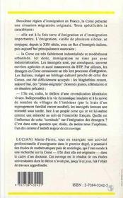 Immigres En Corse, Minorite De La Minorite - 4ème de couverture - Format classique