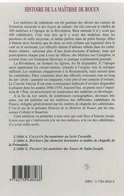 Histoire De La Maitrise De Rouen - 4ème de couverture - Format classique