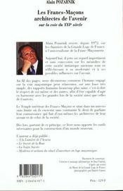 Les Francs-Macons Architectes De L'Avenir - 4ème de couverture - Format classique
