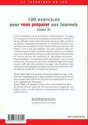 100 Exercices Pour Vous Preparer Aux Tournois - 4ème de couverture - Format classique