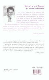 Vincent Le Petit Homme Qui Aimait Les Hommes - 4ème de couverture - Format classique