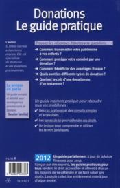 Donations ; le guide pratique (édition 2012) - 4ème de couverture - Format classique