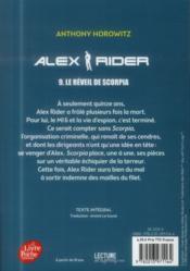 Alex Rider T.9 ; le réveil de Scorpia - 4ème de couverture - Format classique