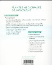 Plantes médicinales de montagne ; connaître, récolter, préparer - 4ème de couverture - Format classique
