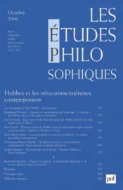 REVUE LES ETUDES PHILOSOPHIQUES N.2006/4 ; Hobbes et les néocontractualismes contemporains - Couverture - Format classique
