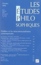 REVUE LES ETUDES PHILOSOPHIQUES N.2006/4 ; Hobbes et les néocontractualismes contemporains - Intérieur - Format classique