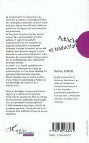 Publicite Et Traduction - 4ème de couverture - Format classique