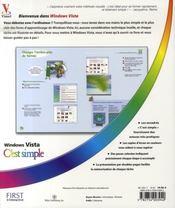 Windows vista c'est simple - 4ème de couverture - Format classique